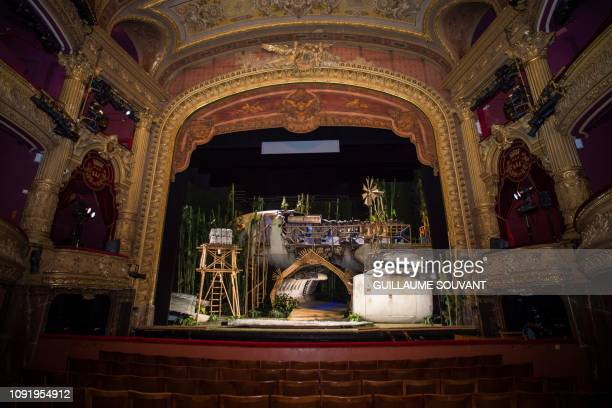 Picture taken on January 31, 2019 shows a theater set representing an A320 aircraft that crashed into the jungle, on the stage of the Grand Theatre...
