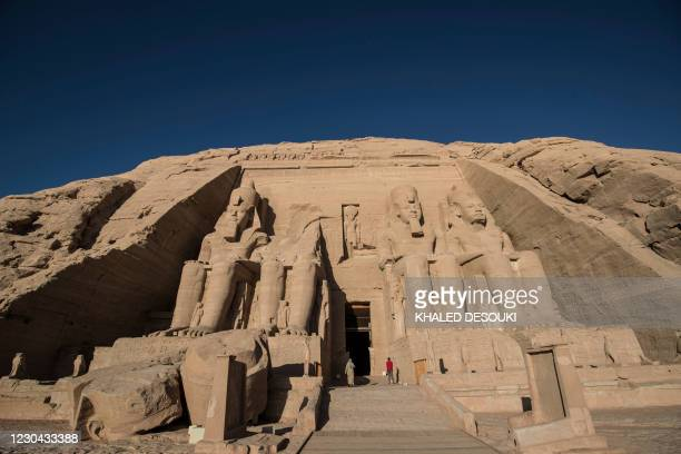 """Picture taken on January 4, 2021 shows a detail of the Ramses II complex, part of the UNESCO World Heritage site known as the """"Nubian Monuments"""", at..."""