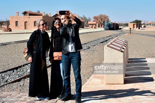 A picture taken on January 4 shows a people visiting the Hejaz train station near Saudi Arabia's northwestern town of alUla an Ottoman era railway