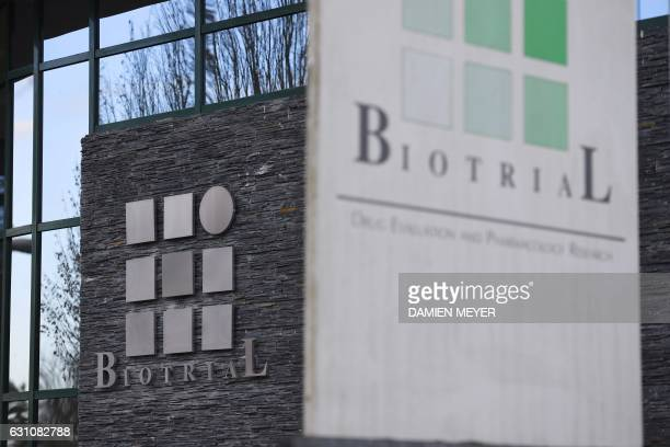 A picture taken on January 5 2017 in Rennes western France shows the Biotrial logo on the facade of the headquarters of the pharmaceutical laboratory...