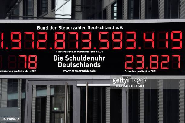 A picture taken on January 5 2018 in Berlin shows so called 'debt clock' counter ticking down at a rate of 78 per second displayed outside the German...