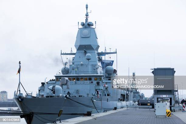 Picture taken on January 5, 2018 shows a Sachsen-class frigate of Germany navy at the harbour of Wilhelmshaven, northern Germany. / AFP PHOTO / dpa /...