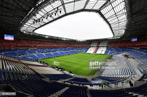 A picture taken on January 7 2016 shows the tribunes and pitch inside Olympique Lyonnais football club's new stadium Grand Stade de Lyon in...