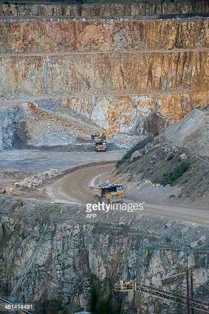 A picture taken on January 8 2013 in La Peyratte centralwestern France shows the granit quarry of Le Pont operated by Carrieres Rambaud founded in...