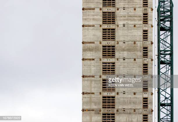A picture taken on January 8 2019 in Amsterdam shows a building in construction on the site of the new headquarters of the European Medicines Agency...