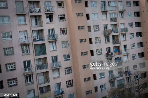 A picture taken on January 8 2019 shows a residential block in the Benza city in the 10th district of Marseille southern France On January 14...