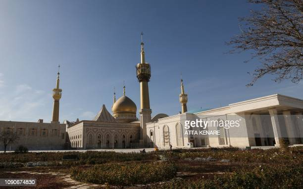 A picture taken on January 8 2019 shows the exterior of the Ayatollah Ruhollah Khomeini mausoleum in southern Tehran Iran which celebrates on...