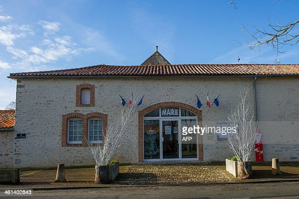 A picture taken on January 8 shows the town hall in Lhoumois centralwestern France Located in the department of DeuxSevres the town holds the record...
