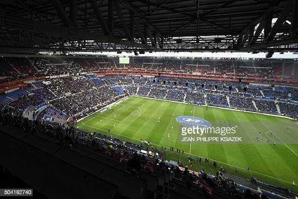 A picture taken on January 9 2016 shows the 'Grand Stade' stadium in DecinesCharpieu centraleastern France during the French L1 football match...