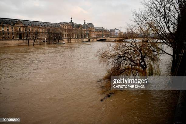 A picture taken on January 9 2018 shows the river Seine after it burst its banks near the Louvre Museum in Paris / AFP PHOTO / CHRISTOPHE SIMON
