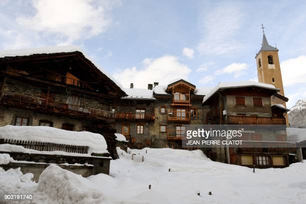 A picture taken on January 9 2018 shows the traditional houses in HauteTarentaise a La Gurraz de Villaroger an hamlet of Villaroger in the middle of...