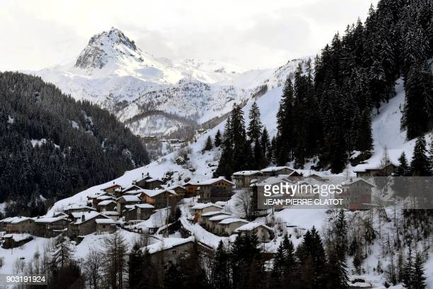 A picture taken on January 9 2018 shows the traditional houses in HauteTarentaise à La Savine de Villaroger an hamlet of Villaroger in the middle of...