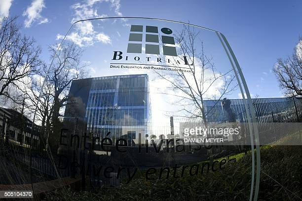A picture taken on Januray 15 2016 shows the logo of the Biotrial laboratory on its building in Rennes where a clinical trial of an oral medication...