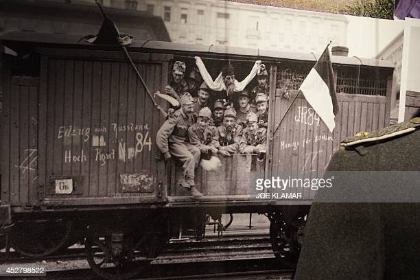 A picture taken on July 1 2014 shows a photograph of Austrian soldiers leaving to fight against Serbia on display at Vienna's Austrian Military...