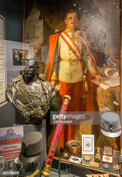 A picture taken on July 1 2014 shows belongings of Prince Franz Ferdinand on display at Vienna's Austrian Military Museum before the upcomming...