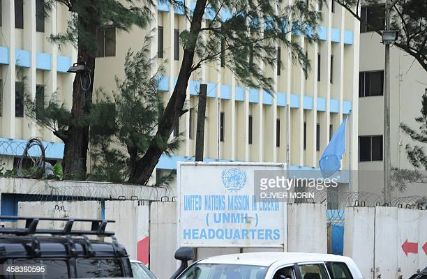 A picture taken on July 1 2016 in Monrovia shows the United Nations mission in Liberia headquarters during a ceremony to mark the security handover...
