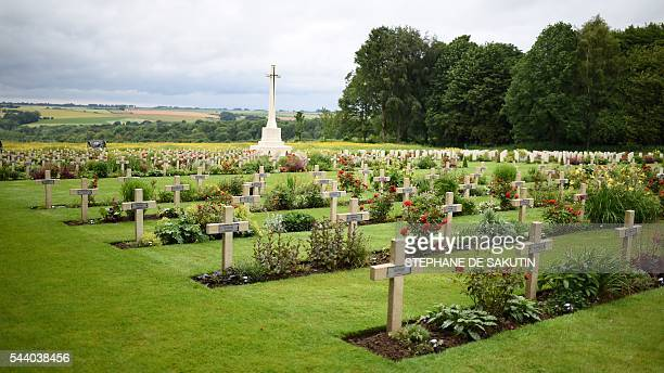 A picture taken on July 1 2016 shows the Croix du Sacrifice Cross of the Sacrifice in Thiepval ahead of a memorial ceremony during which Britain and...