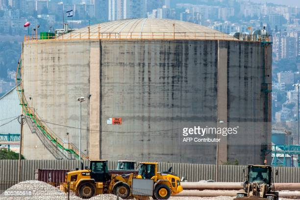A picture taken on July 1 2017 shows an ammonia tank in the northern Israeli port city of Haifa Israel's environment ministry announced it will not...