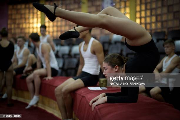 Picture taken on July 1, 2021 shows an applicant getting ready as she waits for her turn to perform in front of the selection committee during the...