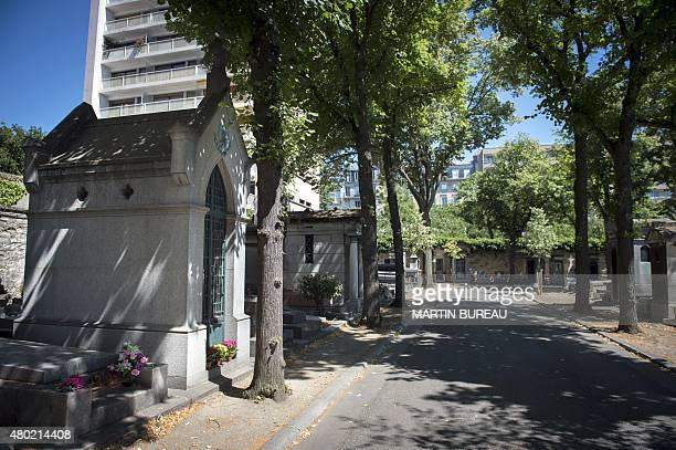 A picture taken on July 10 2015 at the Montparnasse cemetery in Paris shows the vault sheltering the remains of former president of Mexico Porfirio...