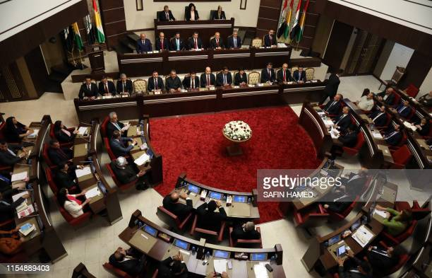 A picture taken on July 10 2019 shows a general view of the Kurdish regional parliament where Mansour Barzani was swornin as the new prime minister...