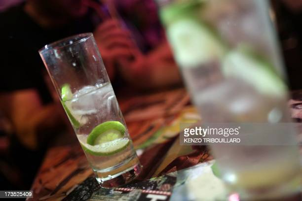 A picture taken on July 11 2013 shows cocktail drinks in a bar in Paris AFP PHOTO / KENZO TRIBOUILLARD