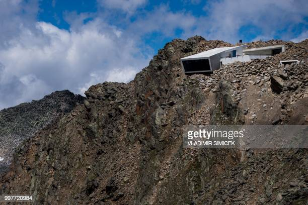 A picture taken on July 11 2018 shows an outside view of the James Bond cinematic installation named '007 ELEMENTS' at the top of the Gaislachkogl...