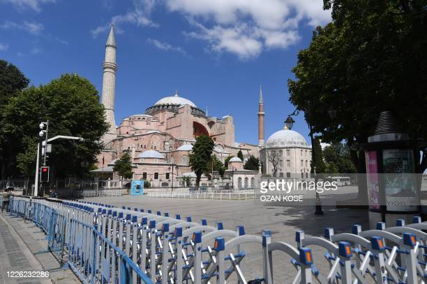 Picture taken on July 11, 2020 shows police fences set up around Hagia Sophia in Istanbul, a day after a top Turkish court revoked the sixth-century...