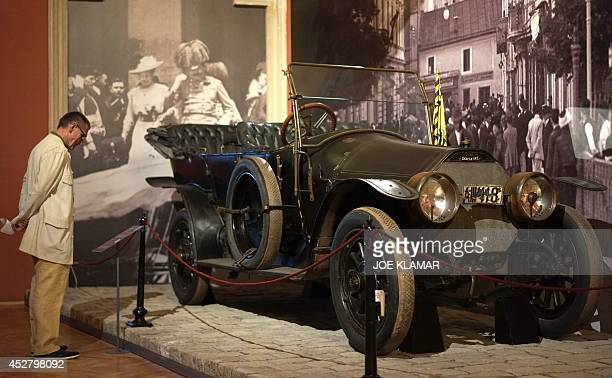 A picture taken on July 12014 shows a car in which Prince Franz Ferdinand was assassinated on display at Vienna's Austrian Military Museum before the...