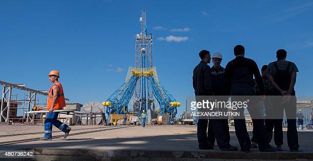A picture taken on July 14 2015 shows a general view of the launch pad at the Vostochny cosmodrome which is under construction in Russia's Far...
