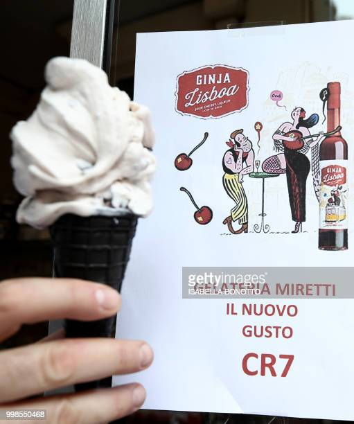 A picture taken on July 14 2018 shows the new icecream taste called CR7 and created for Cristiano Ronaldo's arrival at Juventus football club in...