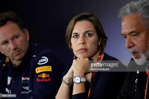 A picture taken on July 14 shows Claire Williams deputy team principal of the Williams Formula One racing team during a press conference wiht Red...