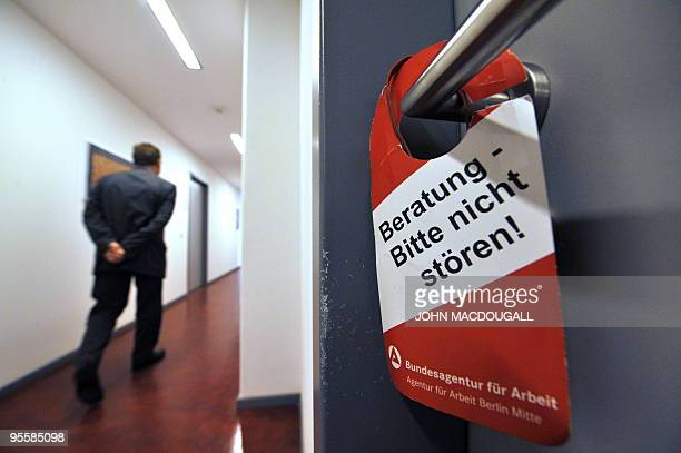 FILES Picture taken on July 15 2008 shows a sign reading 'Counselling underway Please do not disturb' displayed on the door to an interview room in a...