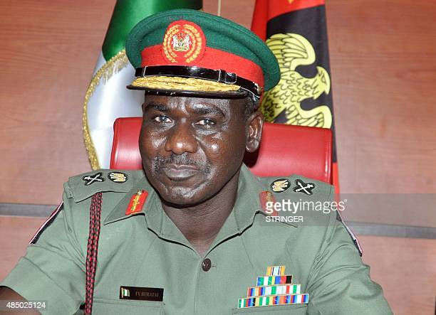 A picture taken on July 16 shows Nigerian army chief Lieutenant General Tukur Buratai during a meeting with senior officers in Abuja Suspected Boko...