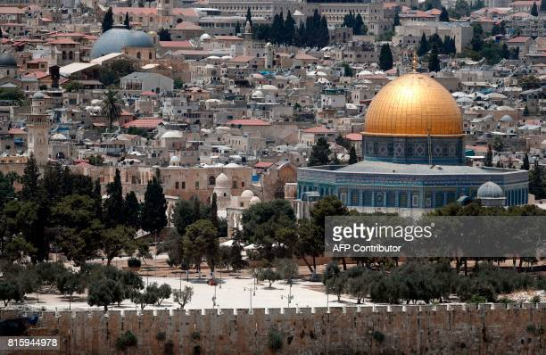 A picture taken on July 17 shows the Dome of the Rock in the AlAqsa Mosque compound in the old city of Jerusalem after Palestinian Muslim worshippers...