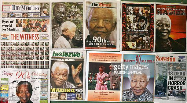 A picture taken on July 18 2008 in Durban shows frontpages of South African newspaper publishing pictures of former South African President Nelson...