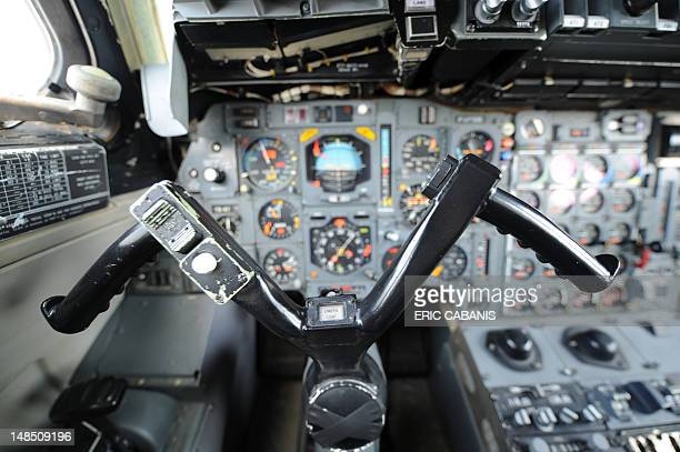 A picture taken on July 18 2012 shows the yoke and navigation instruments in the cockpit of a preserie Concorde airplane at the Blagnac airport...