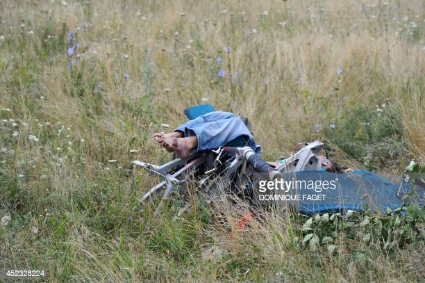 A picture taken on July 18 2014 shows a body amongst the wreckages of the Malaysia Airlines jet carrying 298 people from Amsterdam to Kuala Lumpur a...