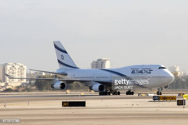 Picture taken on July 19, 2016 shows an El Al Israel Airlines' Boeing 747-458 manuvring on the tarmac at the Ben Gurion International Airport near...