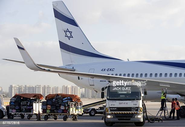 A picture taken on July 19 2016 shows an El Al Israel Airlines' Boeing 777258 being refuelled on the tarmac at the Ben Gurion International Airport...