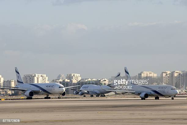 Picture taken on July 19, 2016 shows El Al Israel Airlines' aircrafts manuvring on the tarmac at the Ben Gurion International Airport near Tel Aviv....