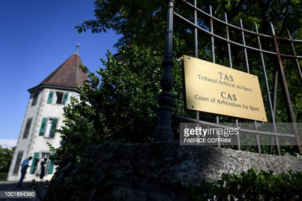 A picture taken on July 19 2018 shows the plate outside the building of the Court of Arbitration for Sport aftet an appeal of AC Milan against a...