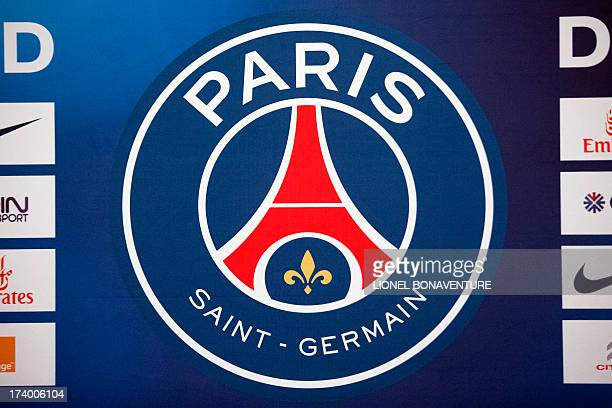 A picture taken on July 19 at the training center in ClairefontaineenYvelines outside Paris shows the new logo of the French L1 football club Paris...
