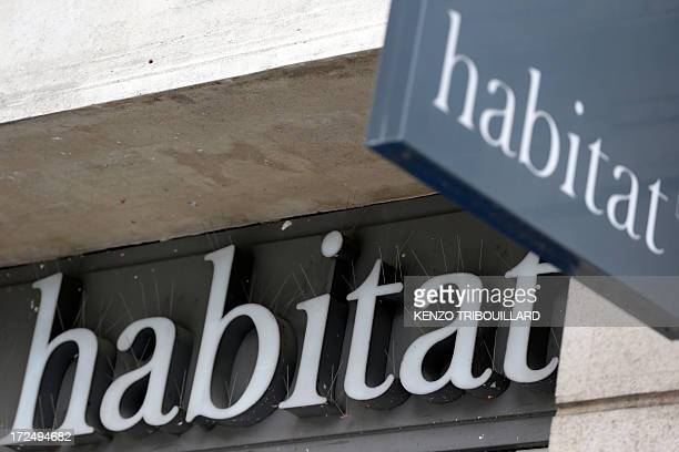 A picture taken on July 2 2013 in Paris shows the logo of a Habitat furniture and design store Habitat is owned by French retailer Cafom AFP PHOTO /...