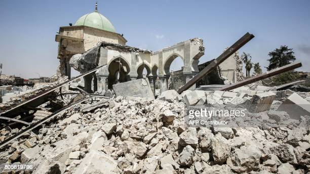 A picture taken on July 2 shows the damaged remains of the destroyed AlNuri Mosque in the Old City of Mosul during the Iraqi government forces'...