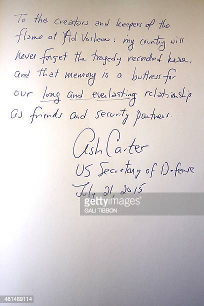 A picture taken on July 21 2015 shows the message left in the guest book by US Defence Secretary Ashton Carter during his visit to the Yad Vashem...