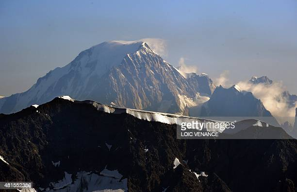 A picture taken on July 22 2015 in Tignes southeastern France shows the Italian side of the Mont Blanc the highest mountain in the Alps AFP PHOTO /...