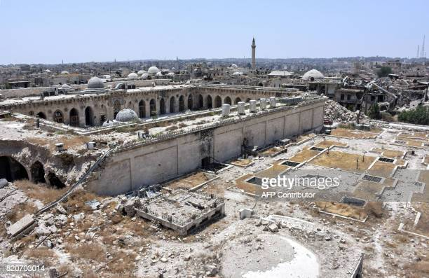 A picture taken on July 22 2017 in the northern Syrian city of Aleppo which was recaptured by government forces in December 2016 shows a general view...