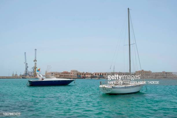 A picture taken on July 22 2018 shows a private boat with the Eritrea flag in Old Massawa harbour 60km of the Eritrean capital Asmara Eritrea's...