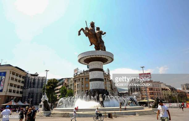 A picture taken on July 23 2012 shows a bronze statue of Alexander the Great officially named 'Warrior on a Horse' in Skopje's central Macedonia...